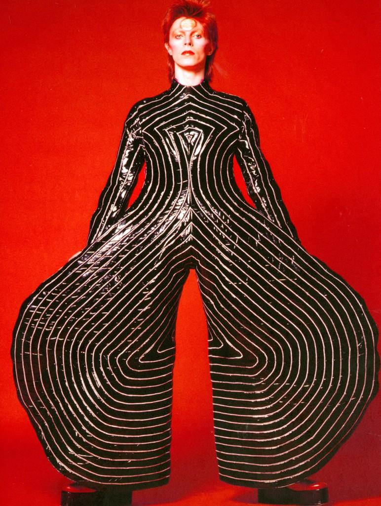David Bowie: Striped Bodysuit For Aladdin Sane Tour 1973 - Design By Kansai Yamamoto Photograph By Masayoshi Sukita - Sukita The David Bowie Archive 2012